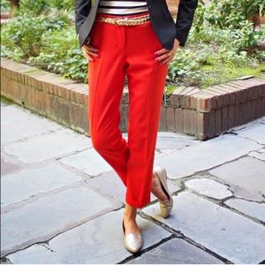 J. Crew Cafe Red Capri Trousers